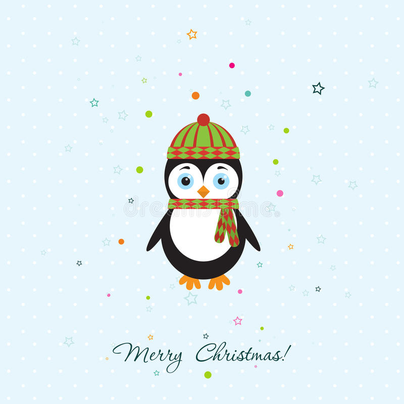Template Christmas Greeting Card With A Penguin, Vector Stock Vector