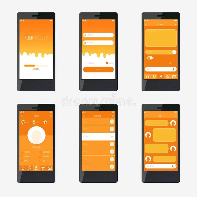 Template Mobile Application Interface Design Stock Vector - application template