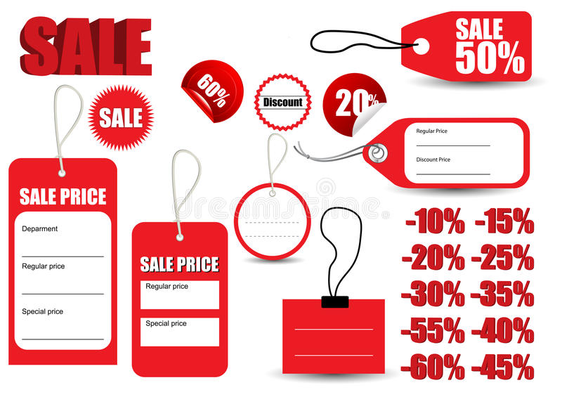 Template Sale Red Tag Symbol Stock Vector - Illustration of concept - sale tag template