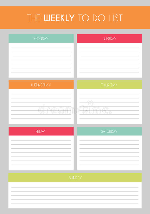 Template Simple Colorful \u0027The Weekly To Do List\u0027 Stock Illustration - weekly to do list template