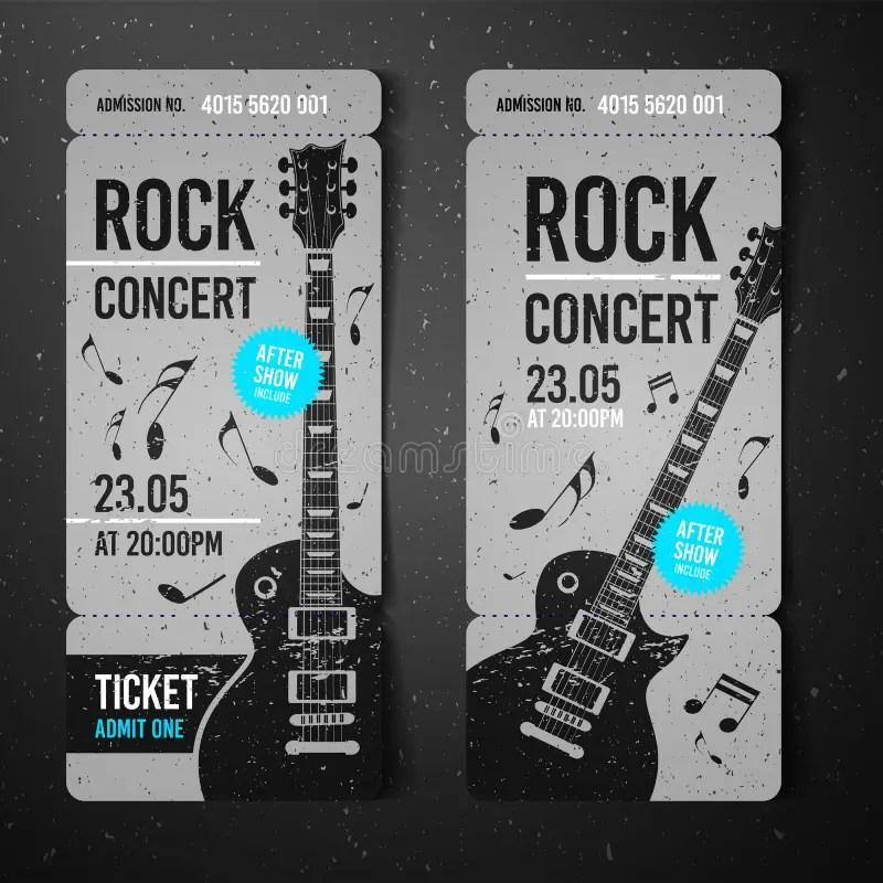 Vector Illustration Black Rock Concert Ticket Design Template With