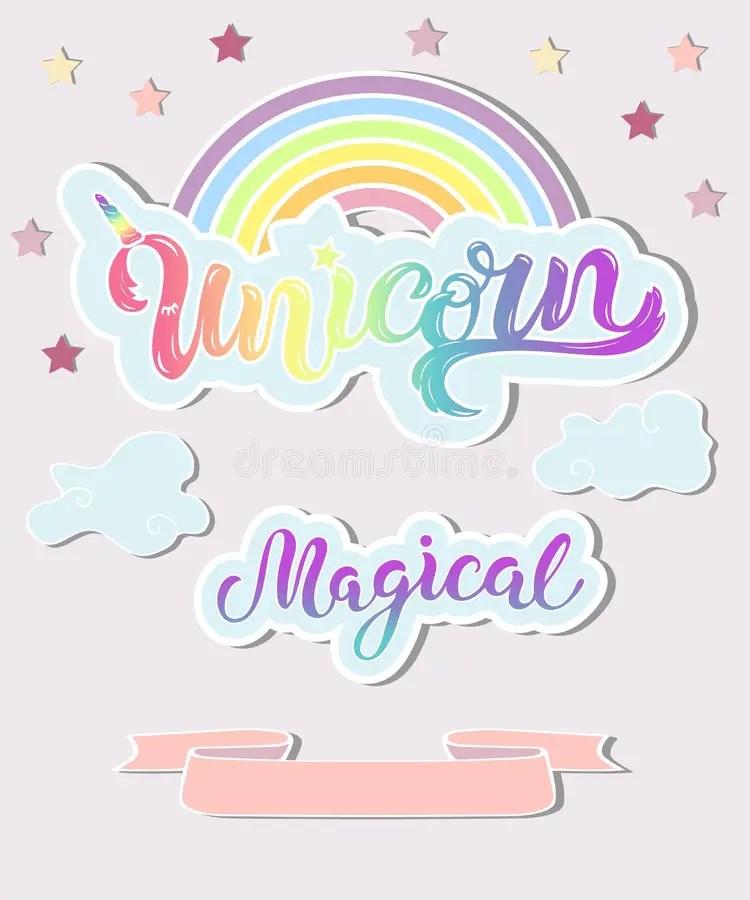 Template With Unicorn, Rainbow, Clouds Stock Vector - Illustration - unicorn template