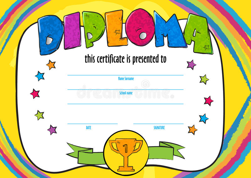 Template Vector Of Child Diploma Or Certificate To Be Awarded Stock