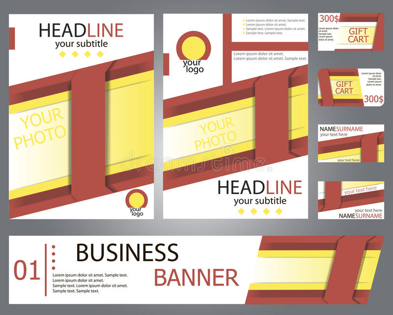 Templates Red, Yellow Brochure Design, Banner, Gift Cards Stock