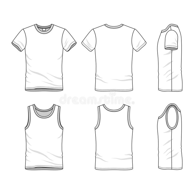 Templates Of T-shirt And Vest Stock Illustration - Illustration of - blank fashion design templates
