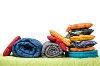 Textiles, Pillows, Blankets On The Mattress Stock Photo ...