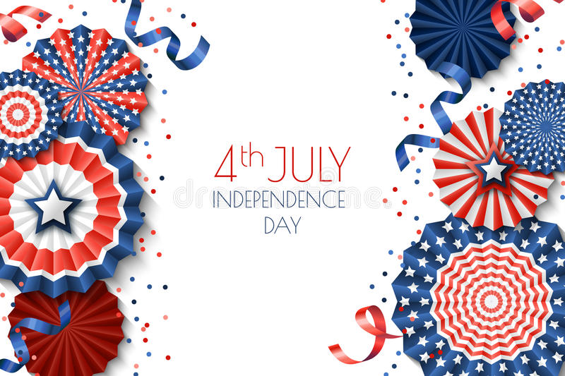 4th Of July, USA Independence Day Banner Template White Background