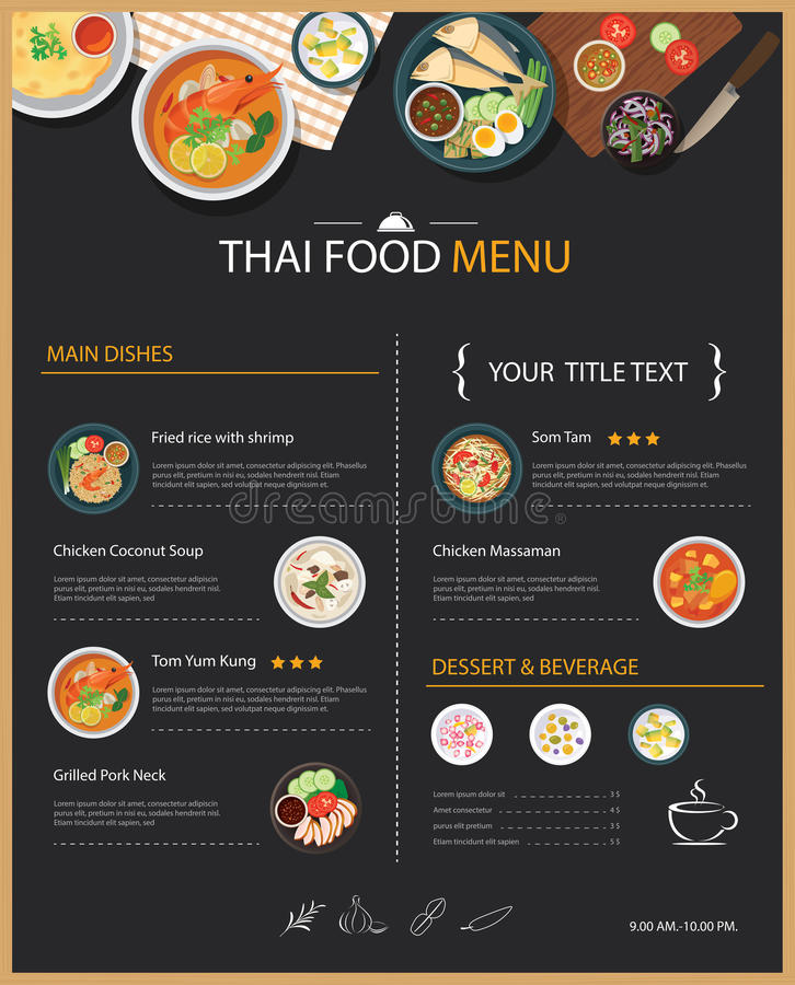 Thai Food Restaurant Menu Template Flat Design Stock Vector - a la carte menu template