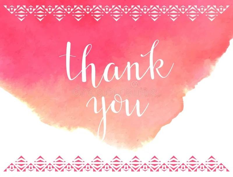 Thank You Card TemplateVector Watercolor Background Stock Vector