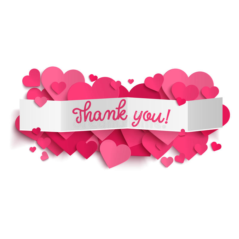 Thank You Text On White Paper Banner And Pink Hearts Stock Vector