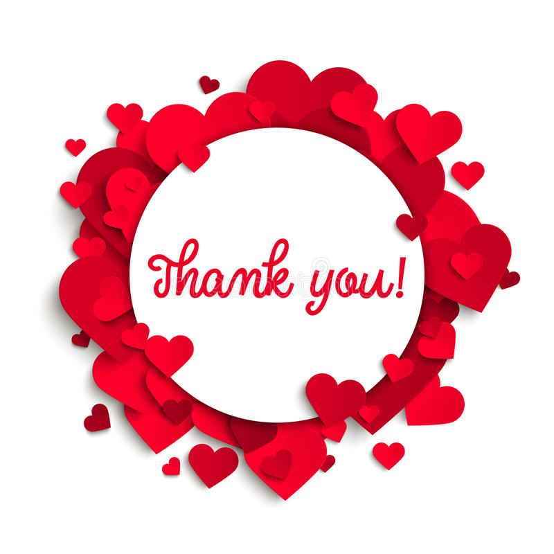 Thank You Text On White Round Banner And Red Hearts Stock Vector