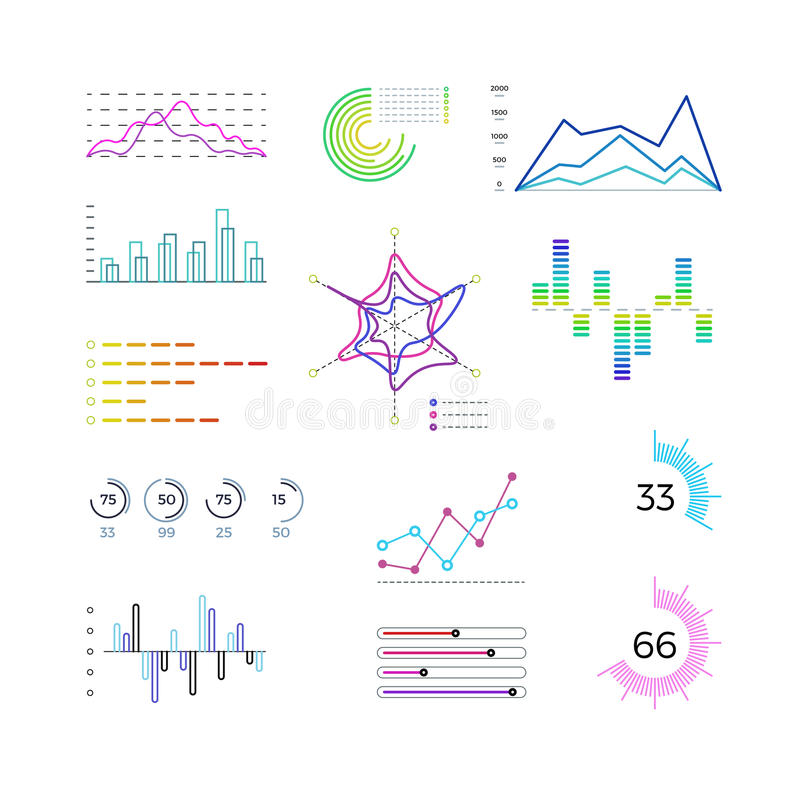Thin Line Chart Elements For Infographic Outline Diagrams And - line graphs template