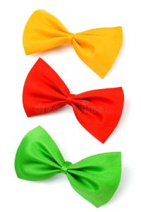 Three Colored Bow Ties Isolated On White Stock Photo ...