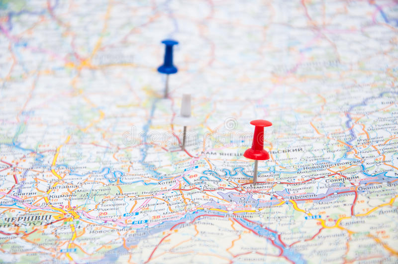 Three pins on a map stock image Image of journey, position - 33706743 - pins on a map