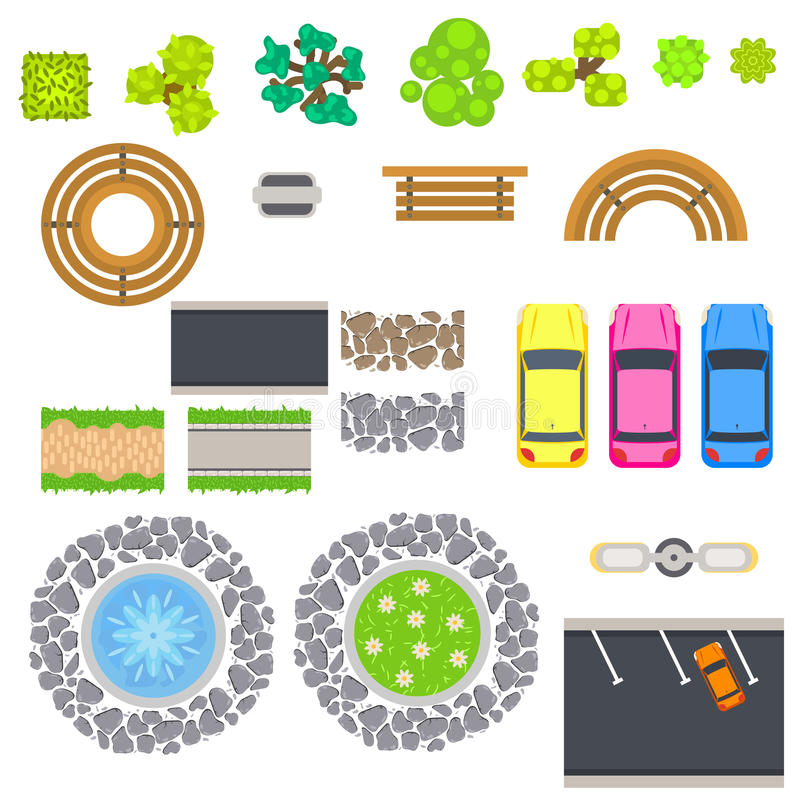 Top View Landscape Vector Isolated Objects Stock Vector