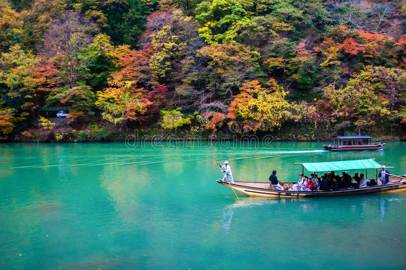 Free Fall Foliage Wallpaper Traditional Tourist Boat Pass On The Emerald Color Katsura