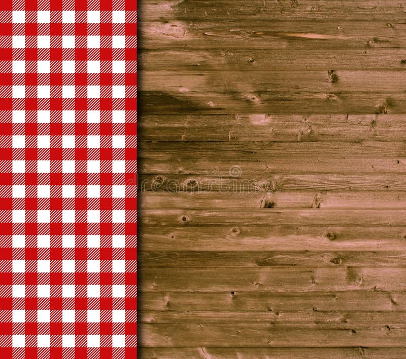 Tischtuch Weiß Traditional Wooden Background With Red White Tablecloth