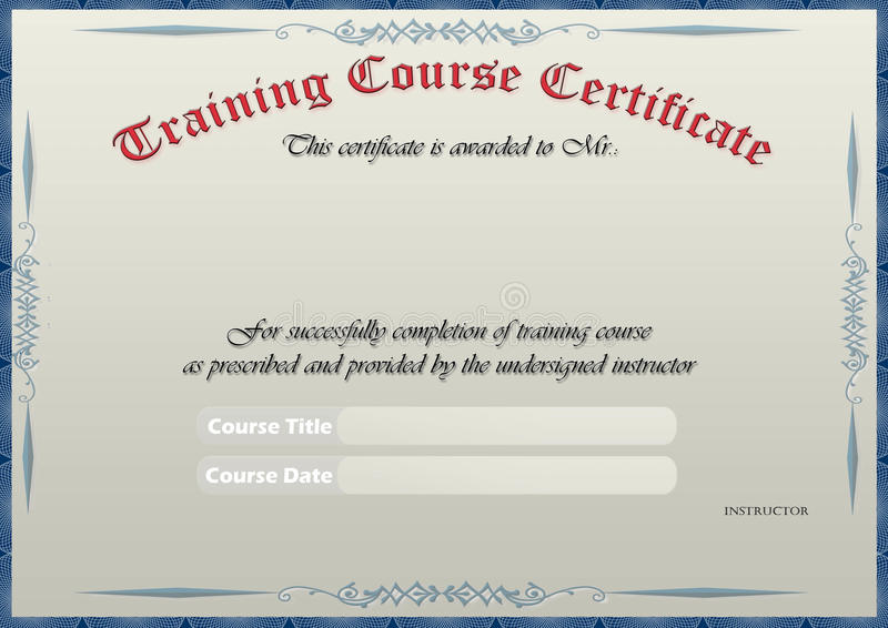 Training Certificate stock photo Image of paper, blue - 15664166 - training certificate