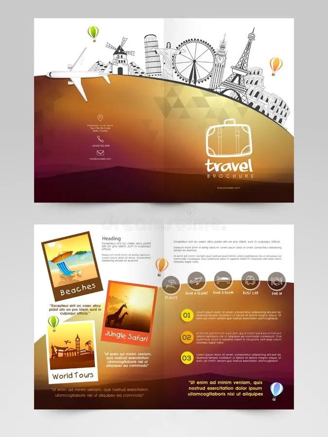 Travel Brochure, Template Or Flyer Design Stock Illustration - tourist brochure template