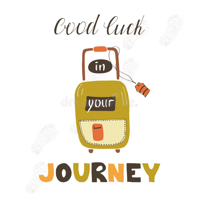 Travel card with suitcase stock vector Illustration of hipster