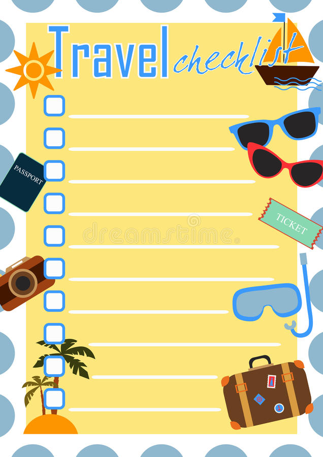 Travel checklist stock vector Illustration of colorful - 64511183 - summer vacation checklist