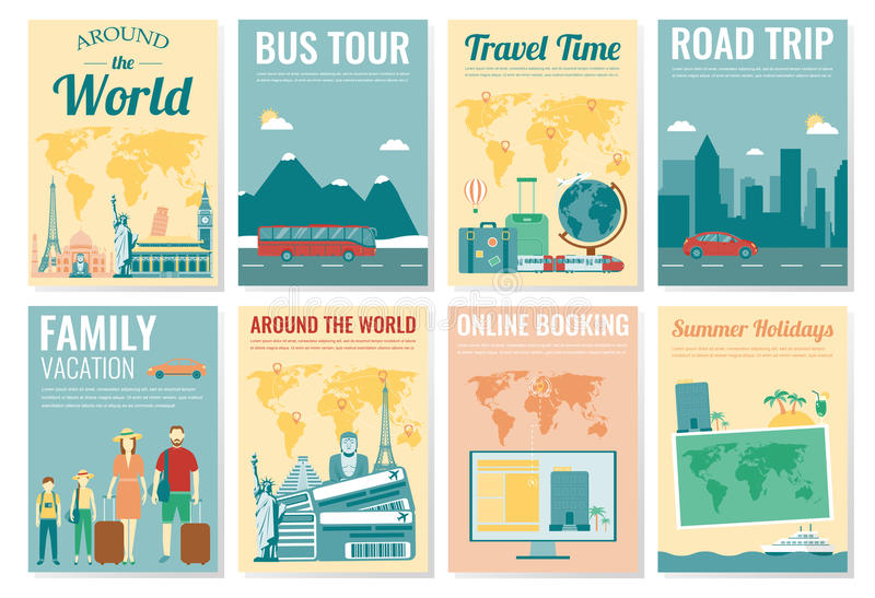 Travel And Tourism Brochure Set Template Of Magazine, Poster, Book - Vacation Brochure Template