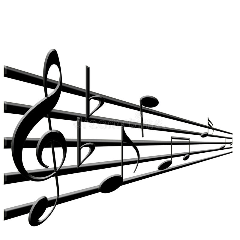 Treble Clef And Music Notes Stock Illustration - Illustration of - clef music