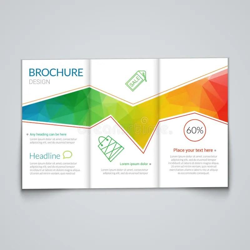 Tri-fold Brochure Design Template With Modern Polygonal Background - modern brochure design