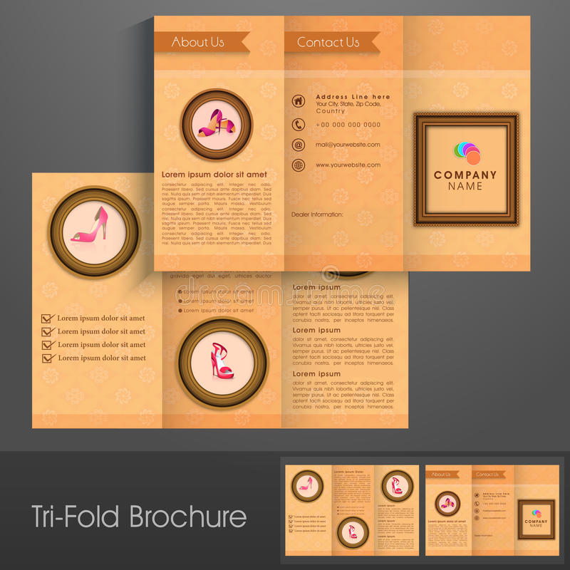 Tri-Fold Brochure, Template Or Flyer For Footwear Business Stock