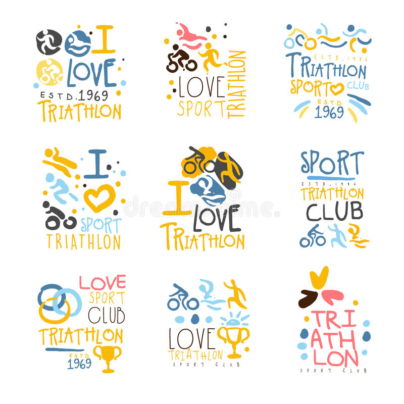 Triathlon Supporters And Fans Club For People That Love Sport Set Of