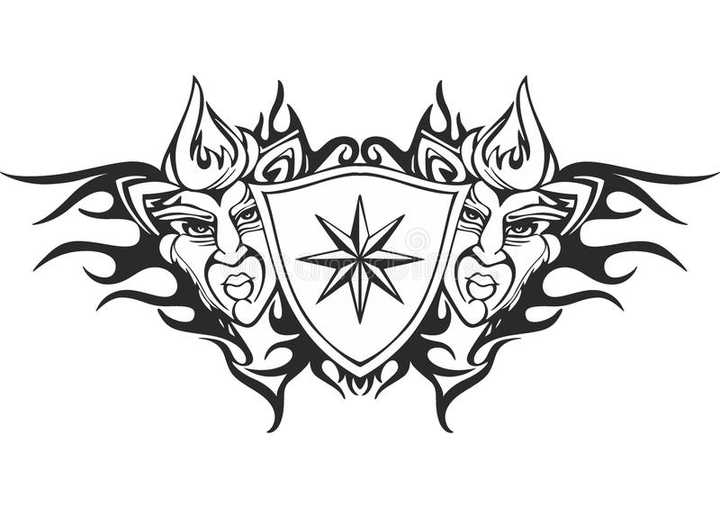 Tribal Flame Tattoo Template With A Star Stock Vector - Image - tattoo template