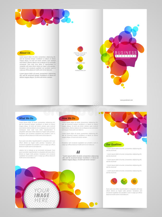 Trifold Brochure, Template Or Flyer For Business Stock Illustration