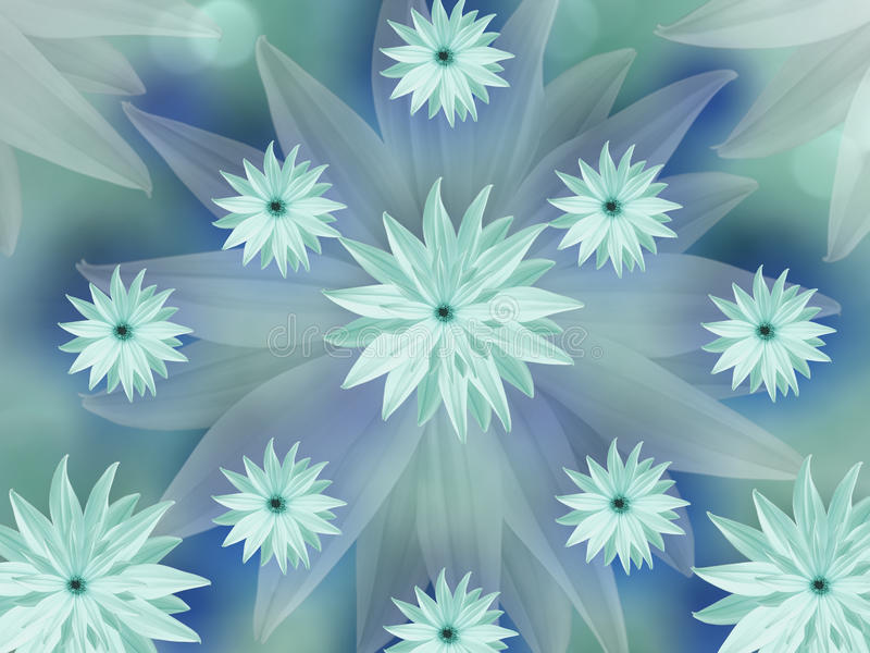Turquoise Flowers On Blurred Turquoise-blue Background Floral
