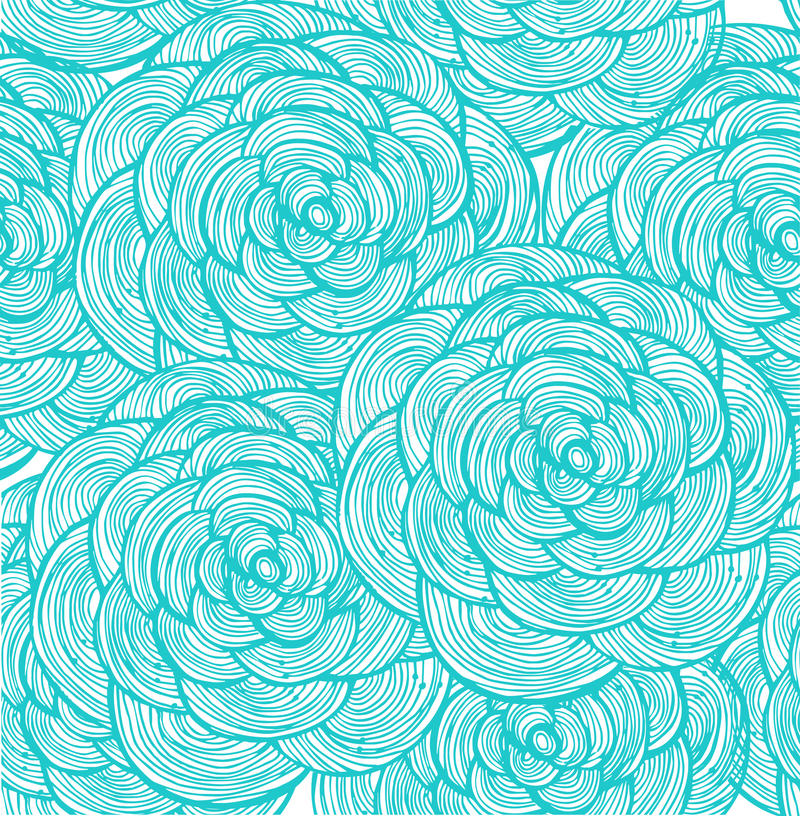 Turquoise Linear Flowers Background Stock Illustration