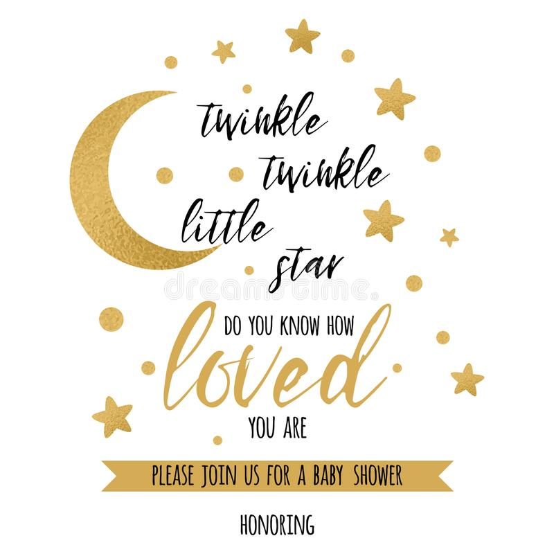 Twinkle Twinkle Little Star Text With Gold Star And Moon For Girl - baby shower invitation templates