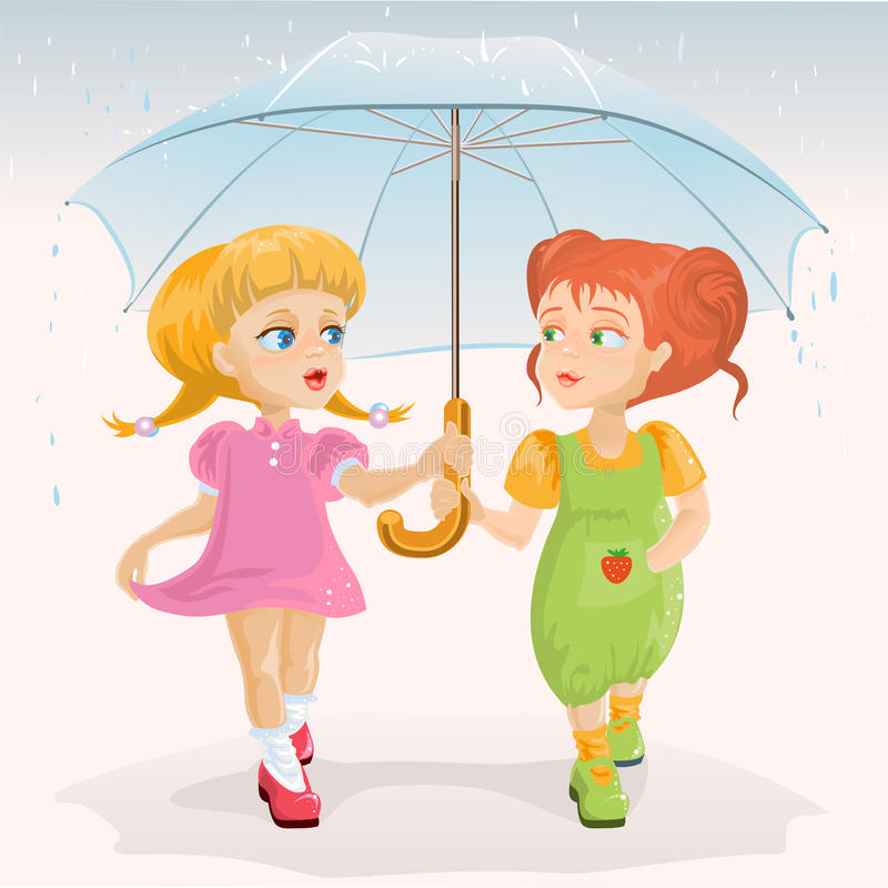 Two Friends Holding Umbrella Template Greeting Card Friendship Day