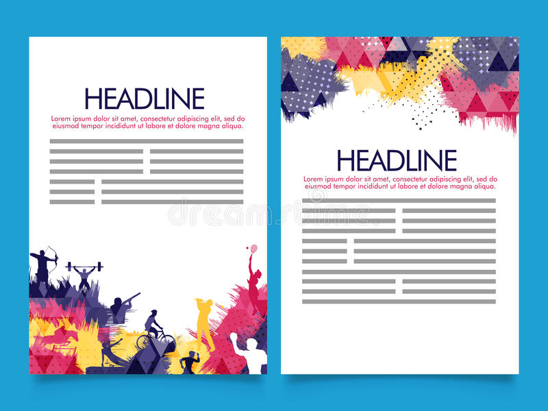 Two Page Brochure, Template For Sports Concept Stock Illustration