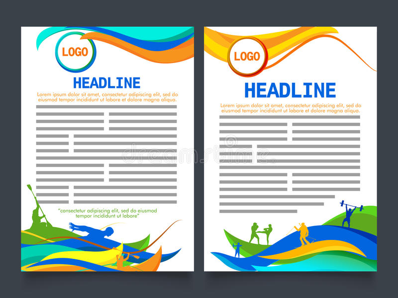 Two Page Brochure, Template For Sports Concept Stock Illustration - sports brochure