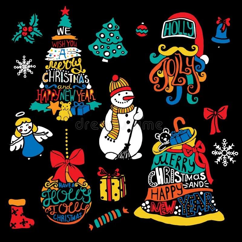 Typographic Printable Christmas And New Year Tree, Santa, Ball, Bag