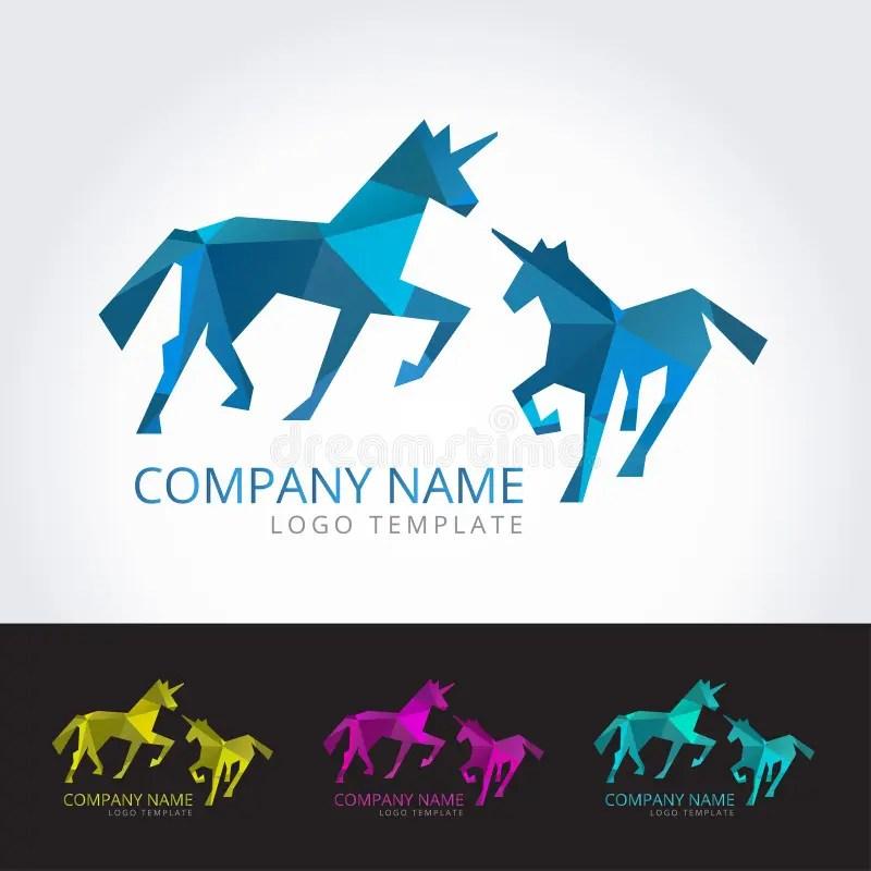 Unicorn Logo Template In Four Color Version Stock Vector - unicorn template