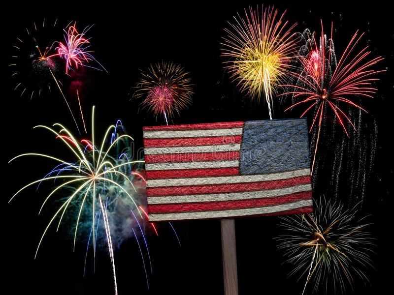 USA American Flag And Fireworks For 4th Of July Stock Image - Image