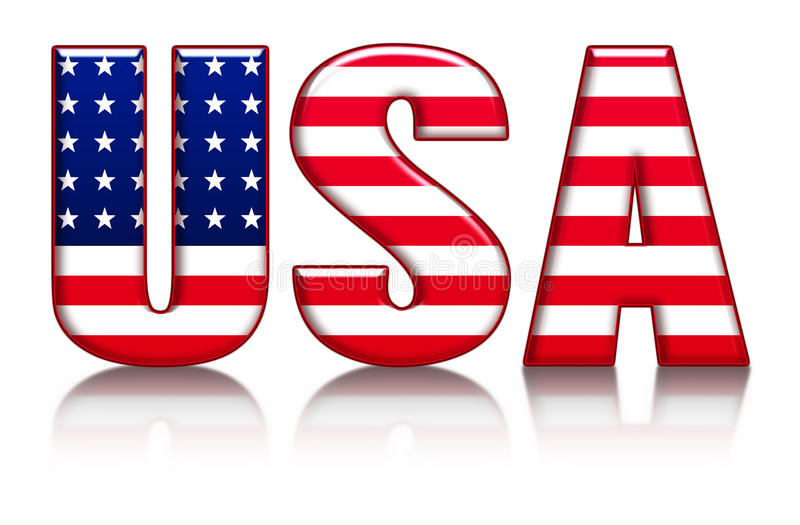 USA Letters, Word With Flag Background Stock Illustration - word flag