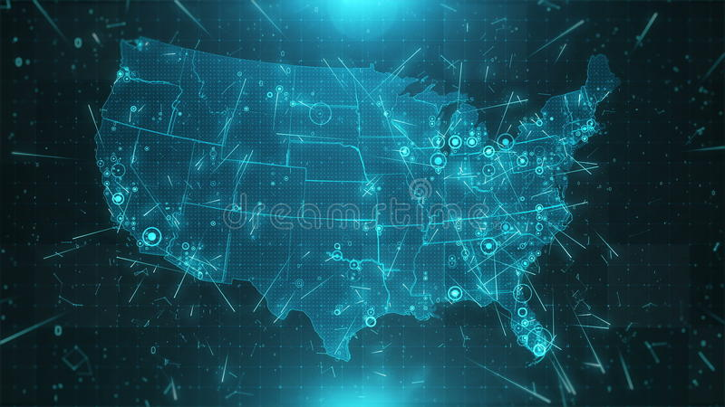 USA Map Background Cities Connections 4K Stock Footage - Video of