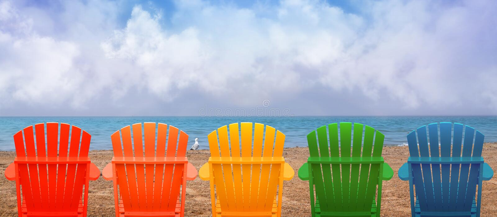 Vacation Beach Chairs On Sand Stock Image Image Of Coastline Retirement 42681503