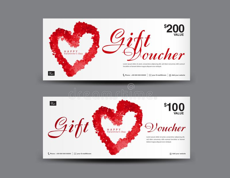 Valentine`s Day Gift Voucher Template Layout, Business Flyer Design - coupon flyer template