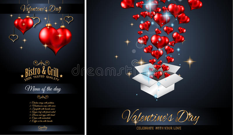 Valentine`s Day Restaurant Menu Template Background For Romantic