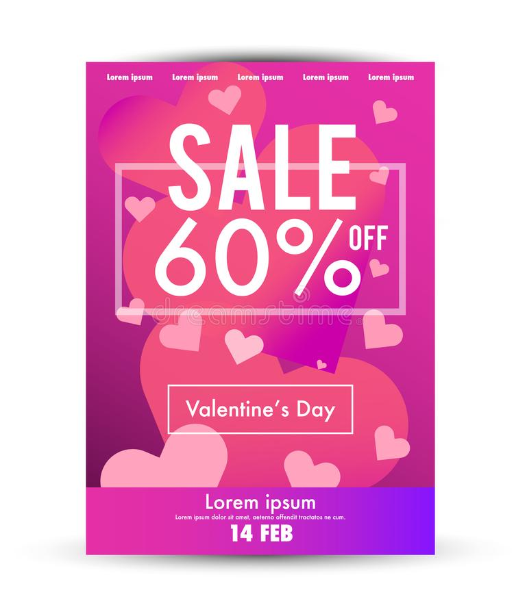 Valentine`s Day Sale Poster Template Stock Vector - Illustration of - for sale poster template