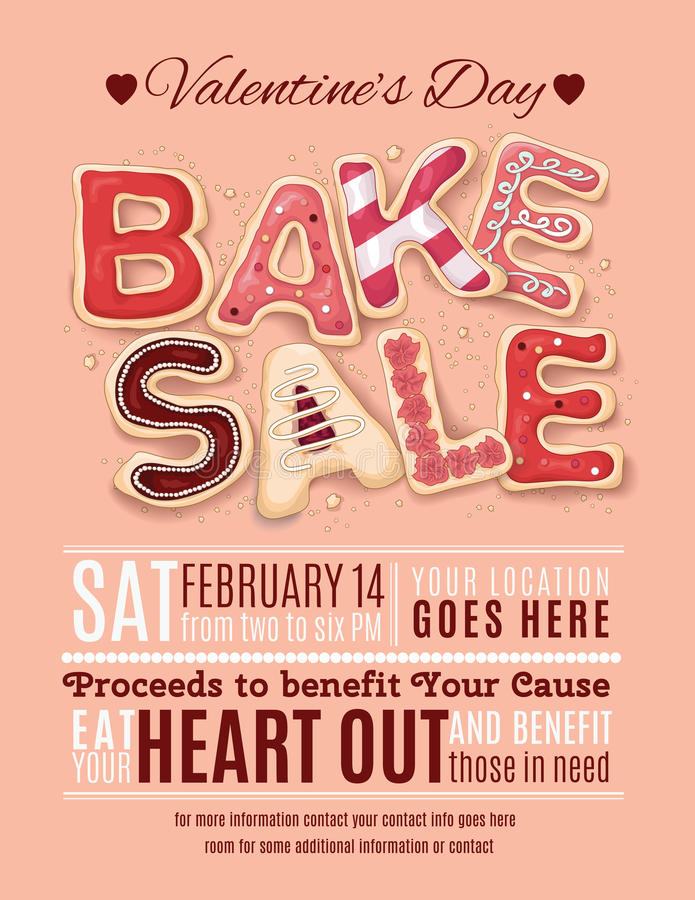 Valentines Day Bake Sale Flyer Template Stock Vector - Illustration - benefit flyer template