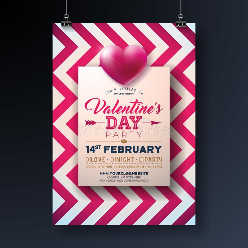 Valentines Day Party Flyer Design With Holiday Typography Letter And