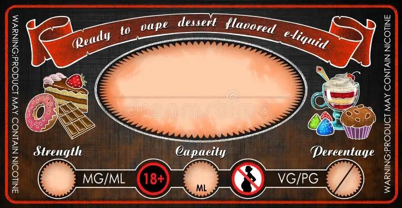 Vape Dessert Flavored E-cigarettes E-liquid Juice Bottle Vial Label